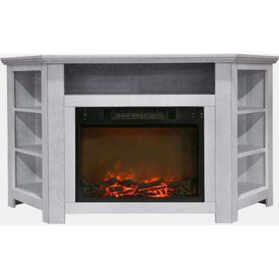 Tyler Park 56 in. Electric Corner Fireplace in White with 1500-Watt Fireplace Insert