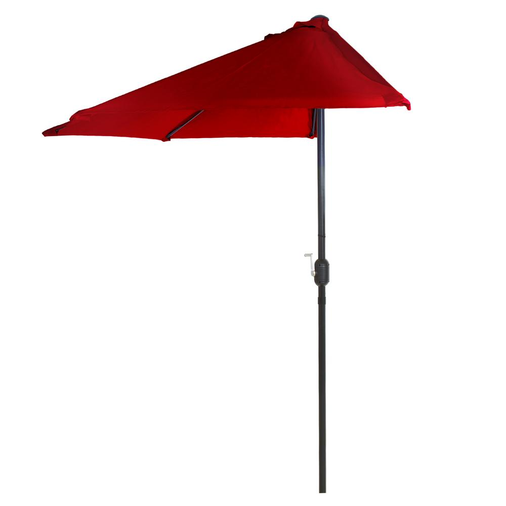 Half Round Patio Umbrella In Red