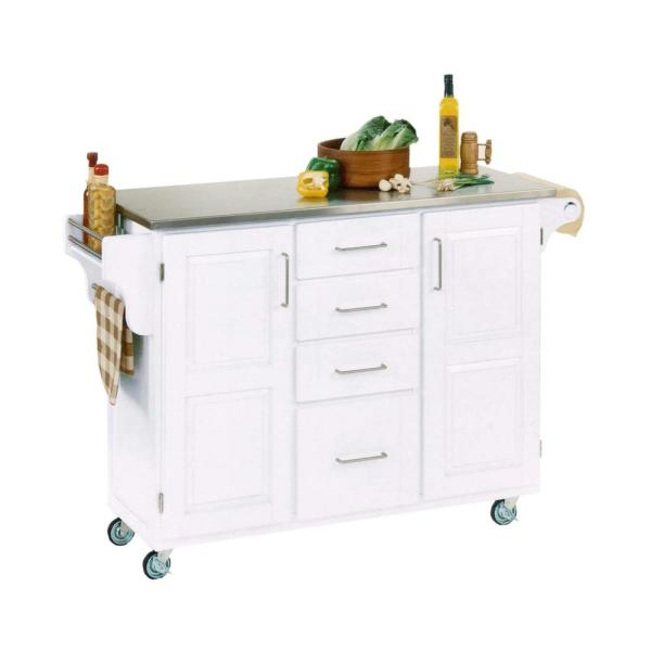 Home Styles Create-a-Cart White Kitchen Cart With Stainless Top 9100-1022