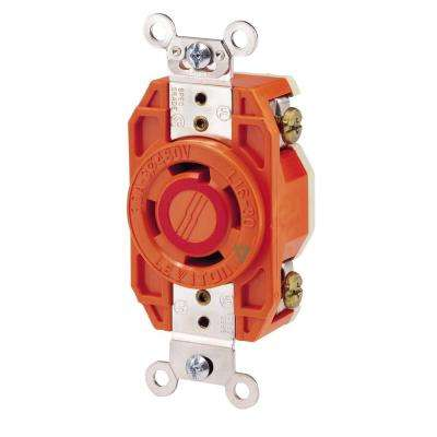 30 Amp 480-Volt 3-Phase Flush Mounting Isolated Ground Locking Outlet, Orange