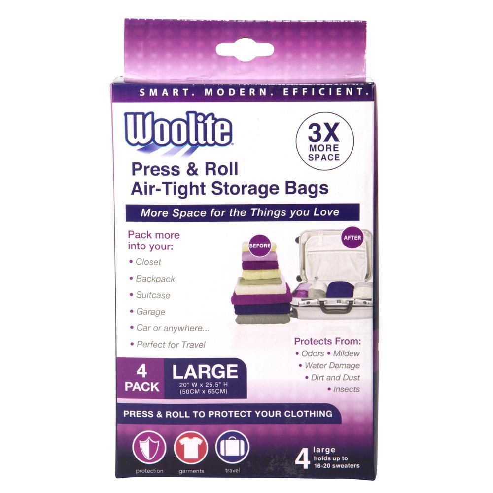 "Woolite 4PC HAND ROLL VACUUM STORAGE BAG 20"" X 20.50"""