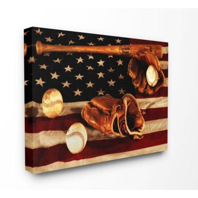 "16 in. x 20 in. ""Vintage American Flag Baseball Sports Rustic Photo"" by Daniel Sproul Canvas Wall Art"