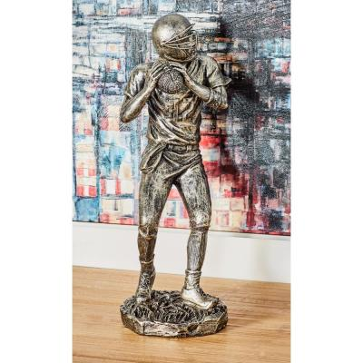 Serving Football Player Polystone Sculpture in Silver