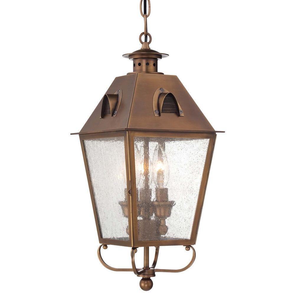 Edenshire 3-Light English Brass Outdoor Chain Hung