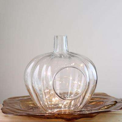 10.5 in. Glass Pumpkin Candle Holder
