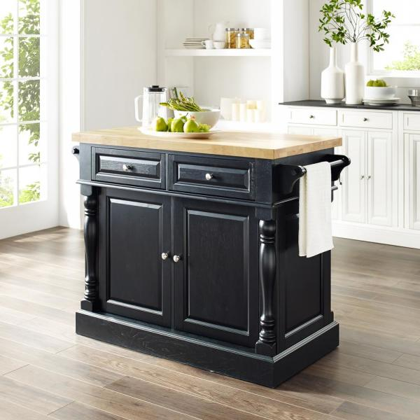 Crosley Oxford Black Kitchen Island With Butcher Block Top Kf30006bk The Home Depot