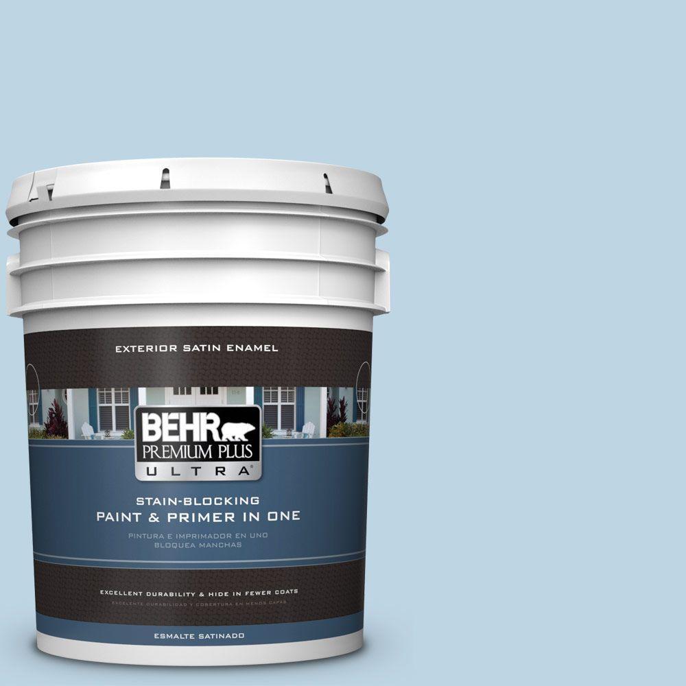 BEHR Premium Plus Ultra 5-gal. #S490-2 Glacial Stream Satin Enamel Exterior Paint