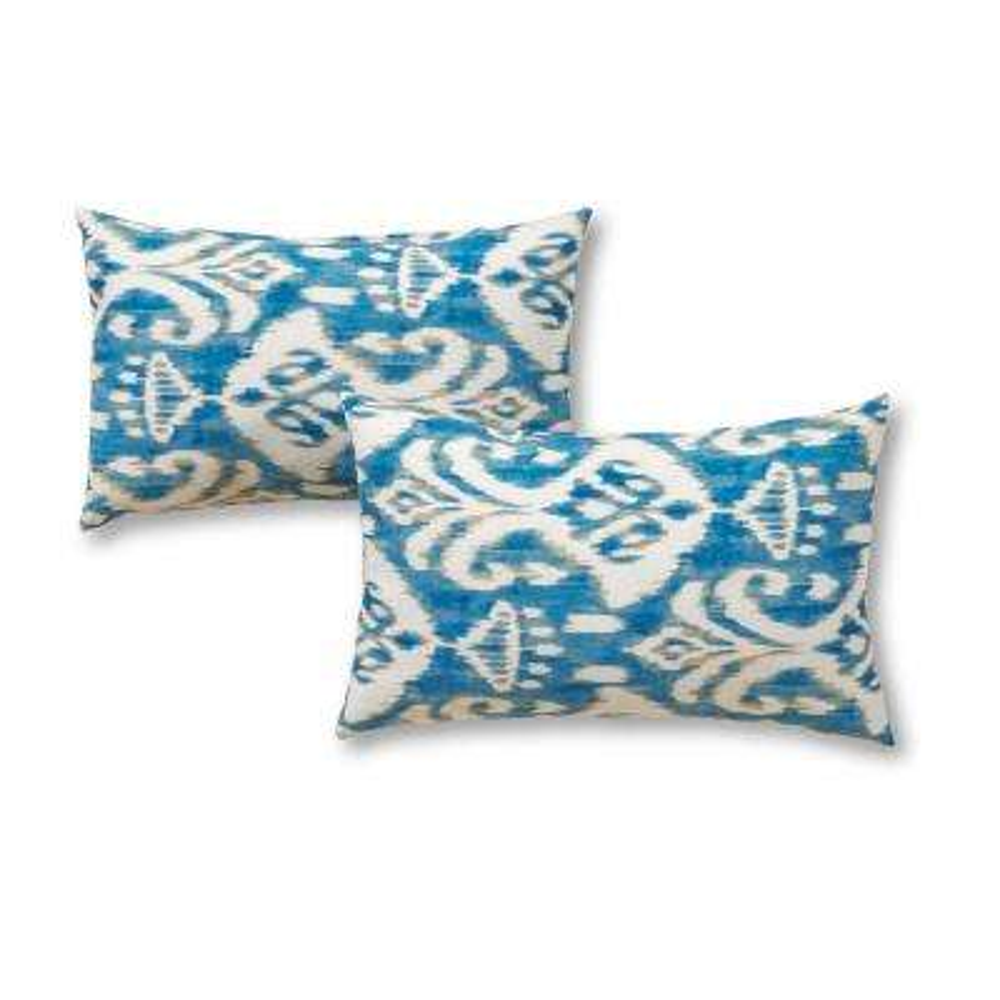 Seaside Ikat Lumbar Outdoor Throw Pillow (2-Pack)