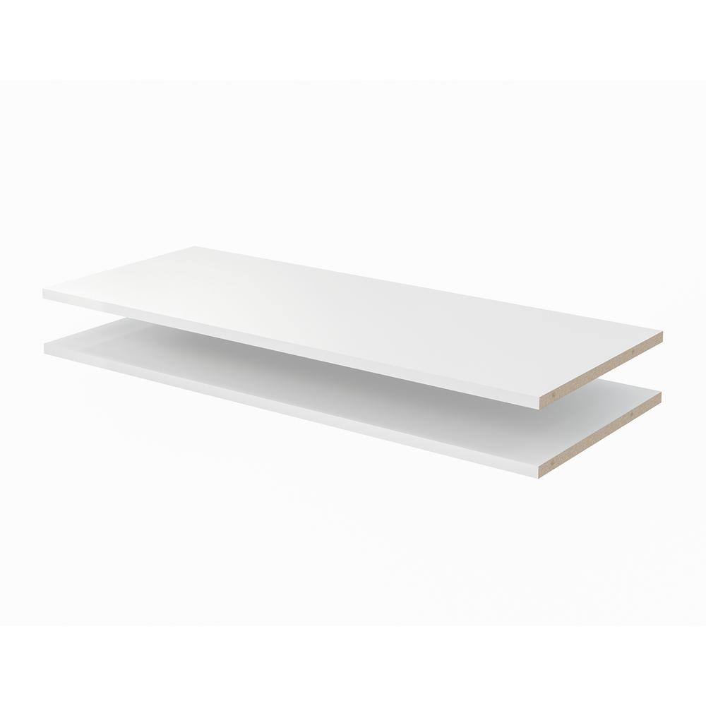 Closet Evolution 35 in. x 14 in. Classic White Wood Shelves (2-Pack)