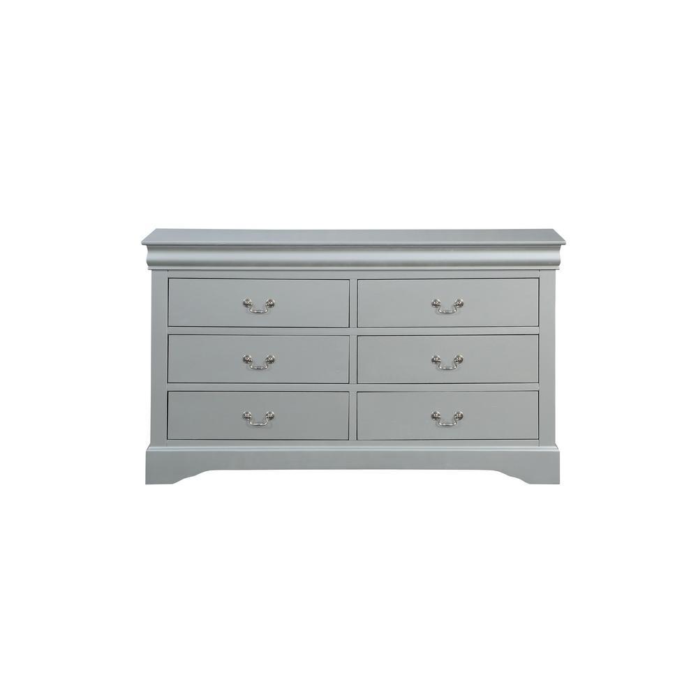 Louis Philippe 6-Drawers Platinum Dresser