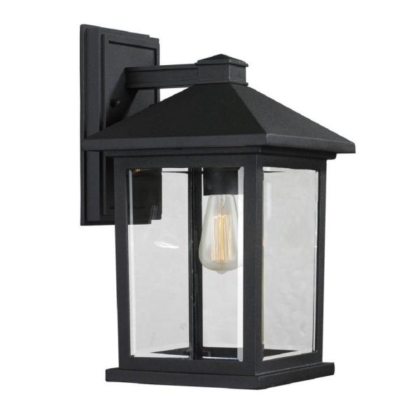 Malone 1-Light Black Outdoor Wall Lantern Sconce