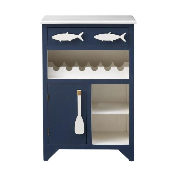 Cheers to you Blue and White 1-Drawer 1-Door Wine Server