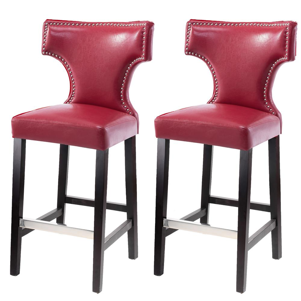 Peachy Corliving Kings 29 In Red Bonded Leather Bar Stool Set Of Squirreltailoven Fun Painted Chair Ideas Images Squirreltailovenorg