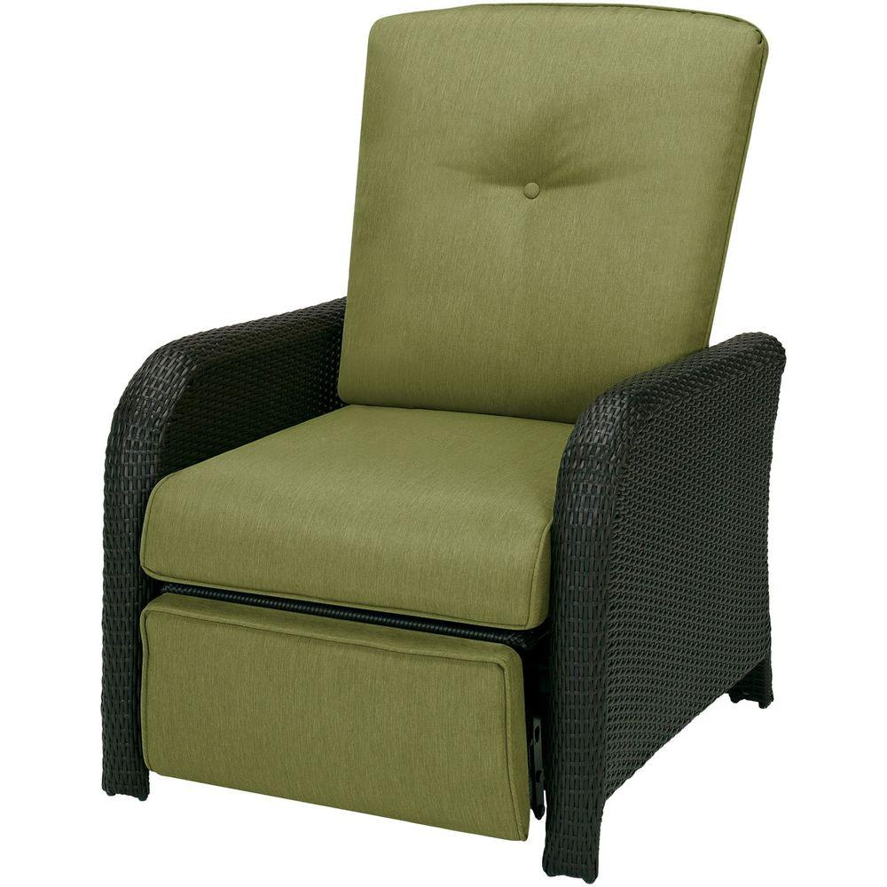 hanover strathmere 1 piece outdoor reclining patio lounge chair with cilantro green cushions - Patio Lounge Chairs