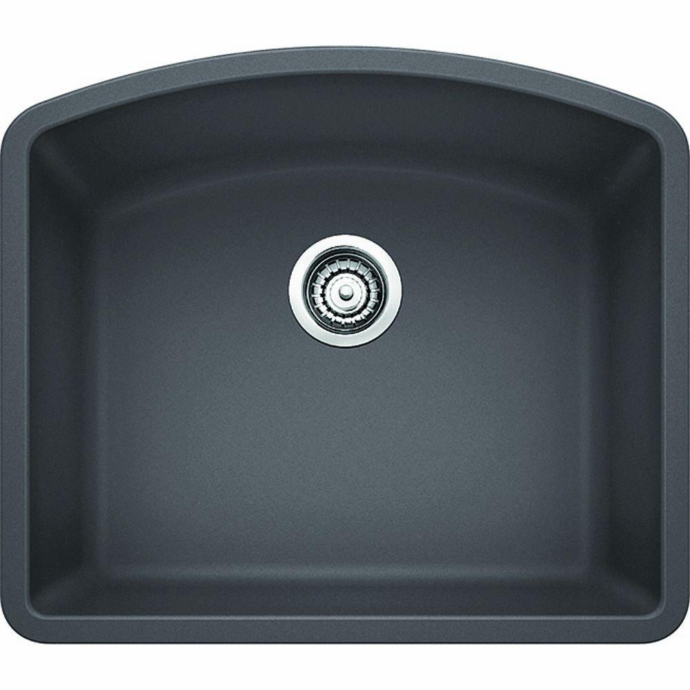 Blanco DIAMOND Undermount Granite Composite 24 in. Single Bowl Kitchen Sink  in Cinder