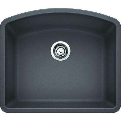 Diamond Undermount Granite Composite 24 in. Single Bowl Kitchen Sink in Cinder