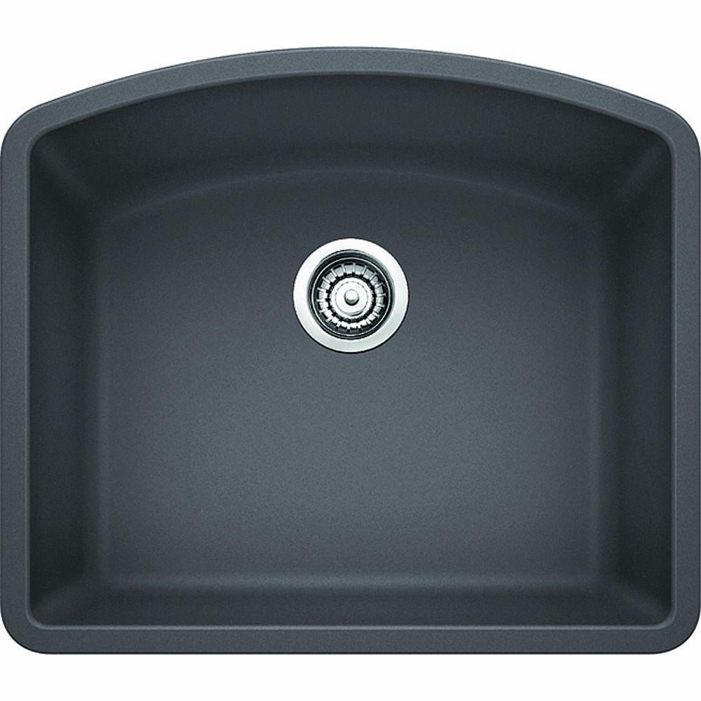 Diamond Undermount Granite Composite 24 in. Single Bowl Kitchen Sink in Cinder
