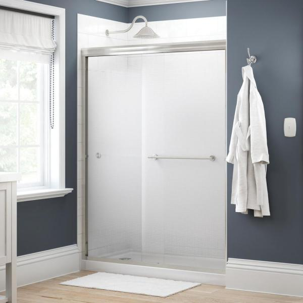 Crestfield 60 in. x 70 in. Traditional Semi-Frameless Sliding Shower Door in Nickel and 1/4 in. (6mm) Droplet Glass