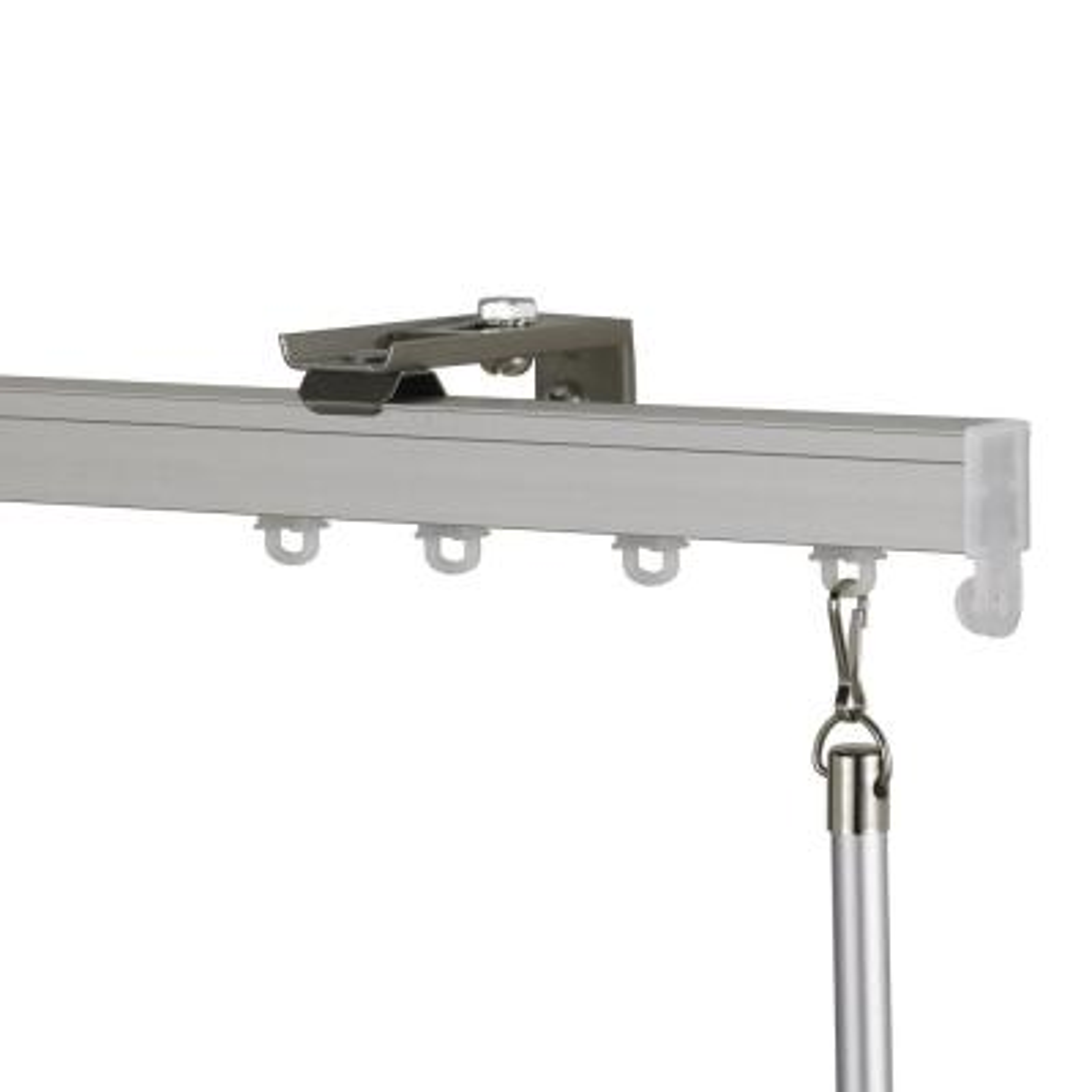 Euroscope 48 in. Non-Adjustable Single Traverse Window Curtain Rod Set in Antique Silver