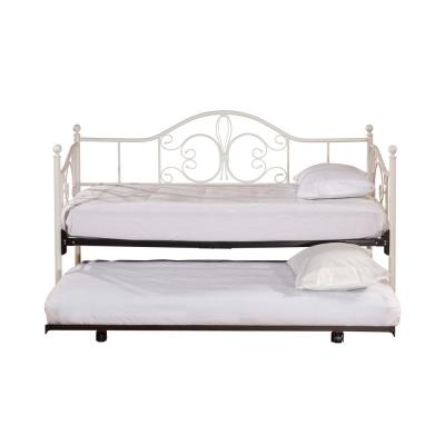 Ruby Textured White Daybed with Suspension Deck and Roll-Out Trundle