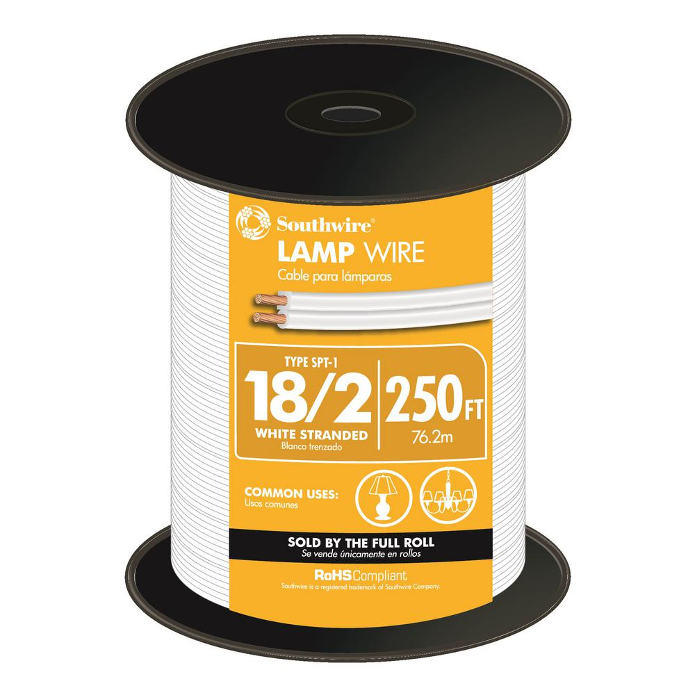 Southwire 250 ft. 18/2 White Stranded CU SPT-1 Lamp Wire