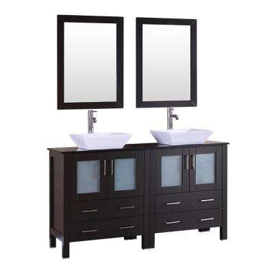Bosconi 60 in. Double Vanity in Espresso with Vanity Top in Black with White Basin and Mirror