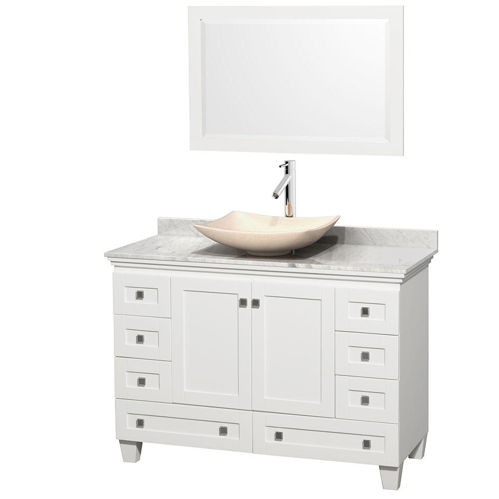 Wyndham Collection Acclaim 48 in. W Vanity in White with Marble Vanity Top in Carrara White, Ivory Marble Sink and Mirror