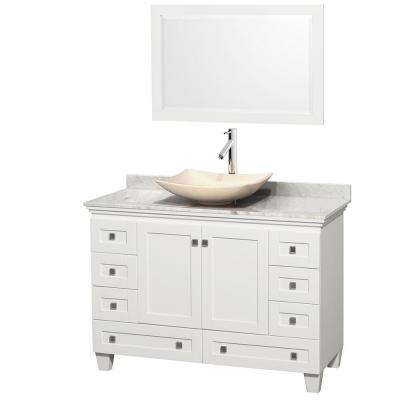 Acclaim 48 in. W Vanity in White with Marble Vanity Top in Carrara White, Ivory Marble Sink and Mirror