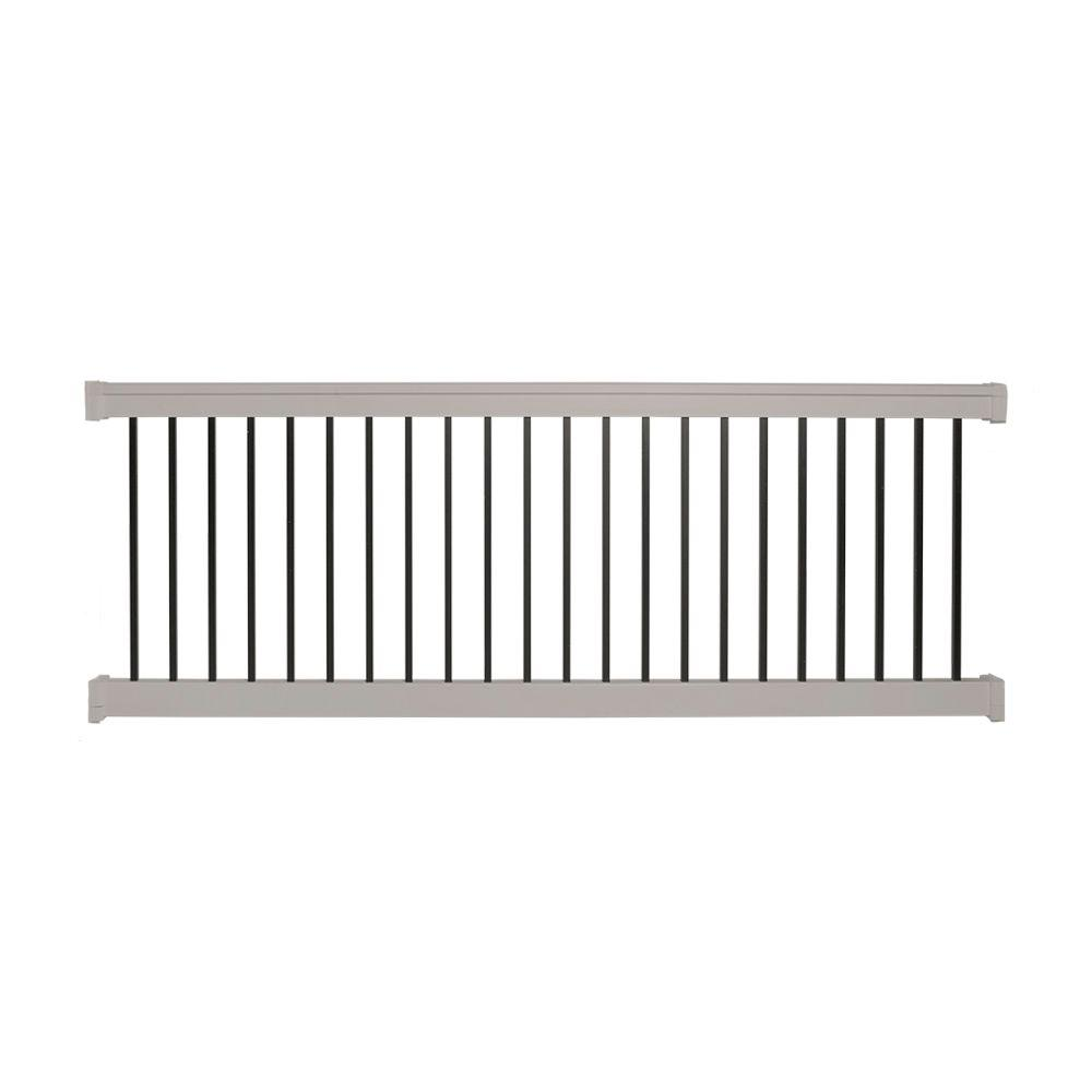 Weatherables Vilano 36 in. x 96 in. Vinyl Tan with Square Black Aluminum Spindles Straight Railing Kit