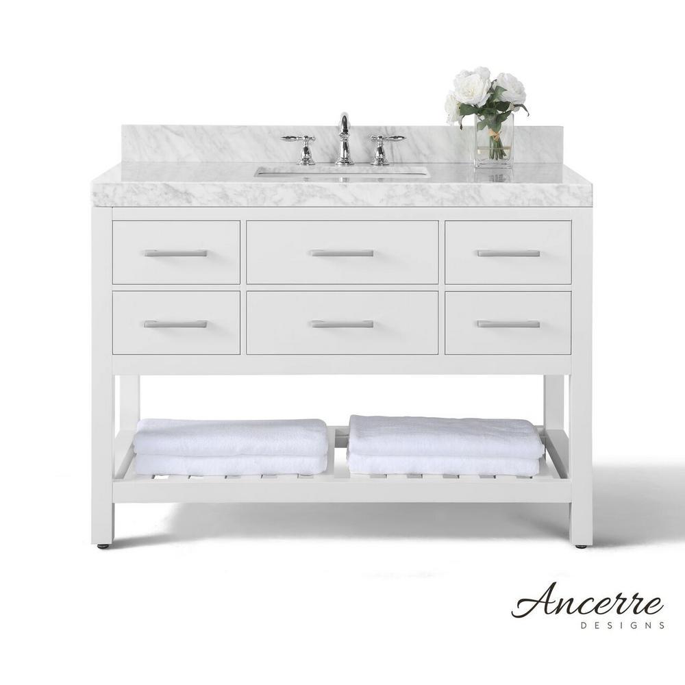 Elizabeth 48 In W X 22 D Vanity White With Marble