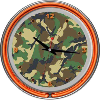 14 in. Hunt Camo Chrome Double Ring Neon Wall Clock