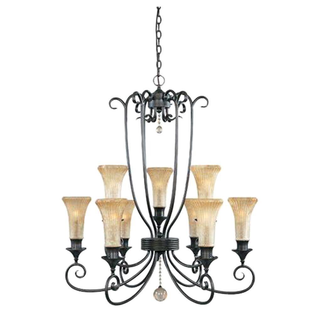 Designers Fountain Montpelier Collection 9-Light Hanging Dark Tahoe Chandelier-DISCONTINUED