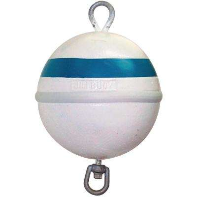 12 in. Dia. Deluxe Foam Mooring Buoy with 30 lb. Buoyancy in White with Blue Reflective Tape