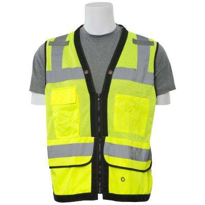 S251 2X Class 2 Poly Mesh/Lower Solid Front Surveyor Hi Viz Lime Vest