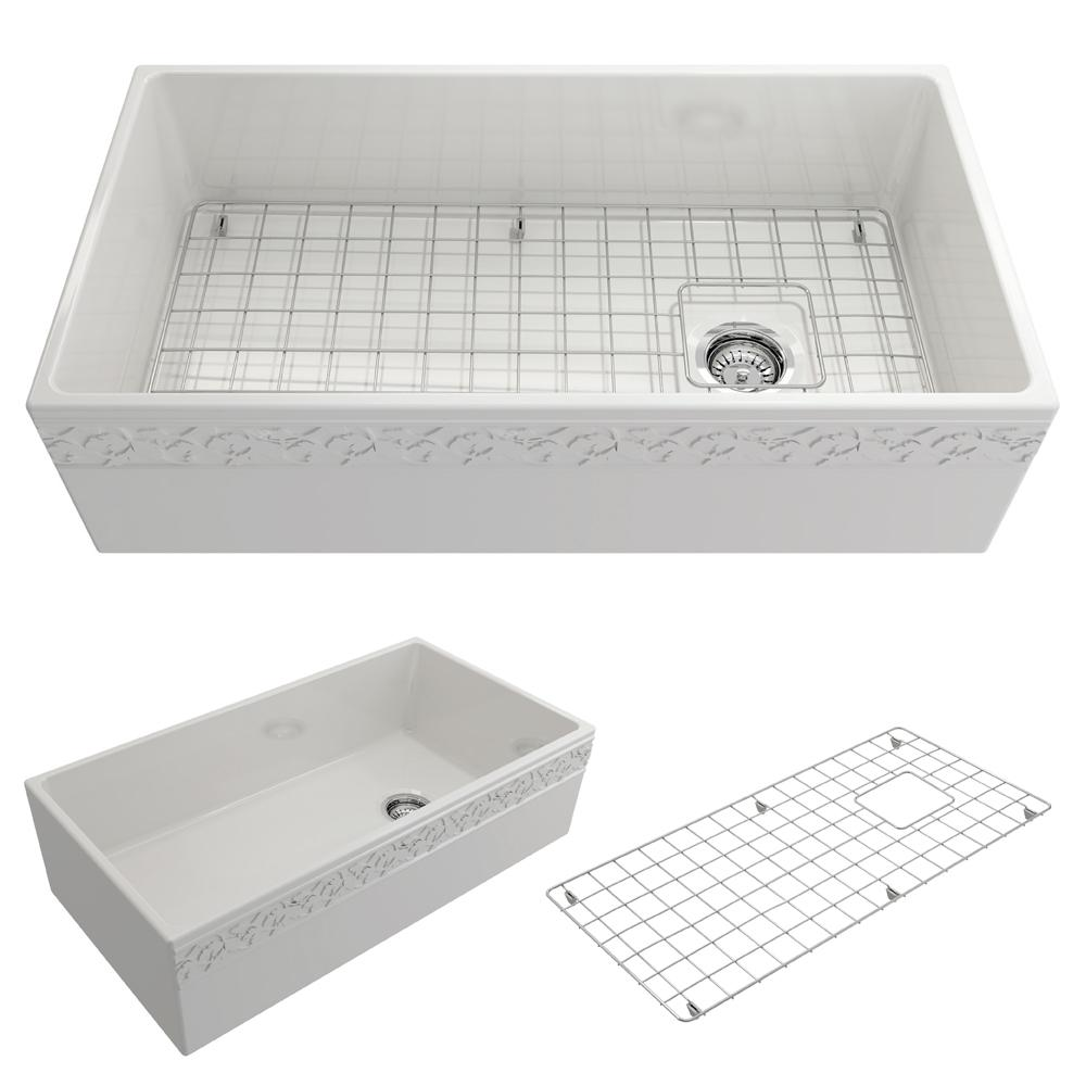 Vigneto Farmhouse Apron Front Fireclay 36 in. Single Bowl Kitchen Sink