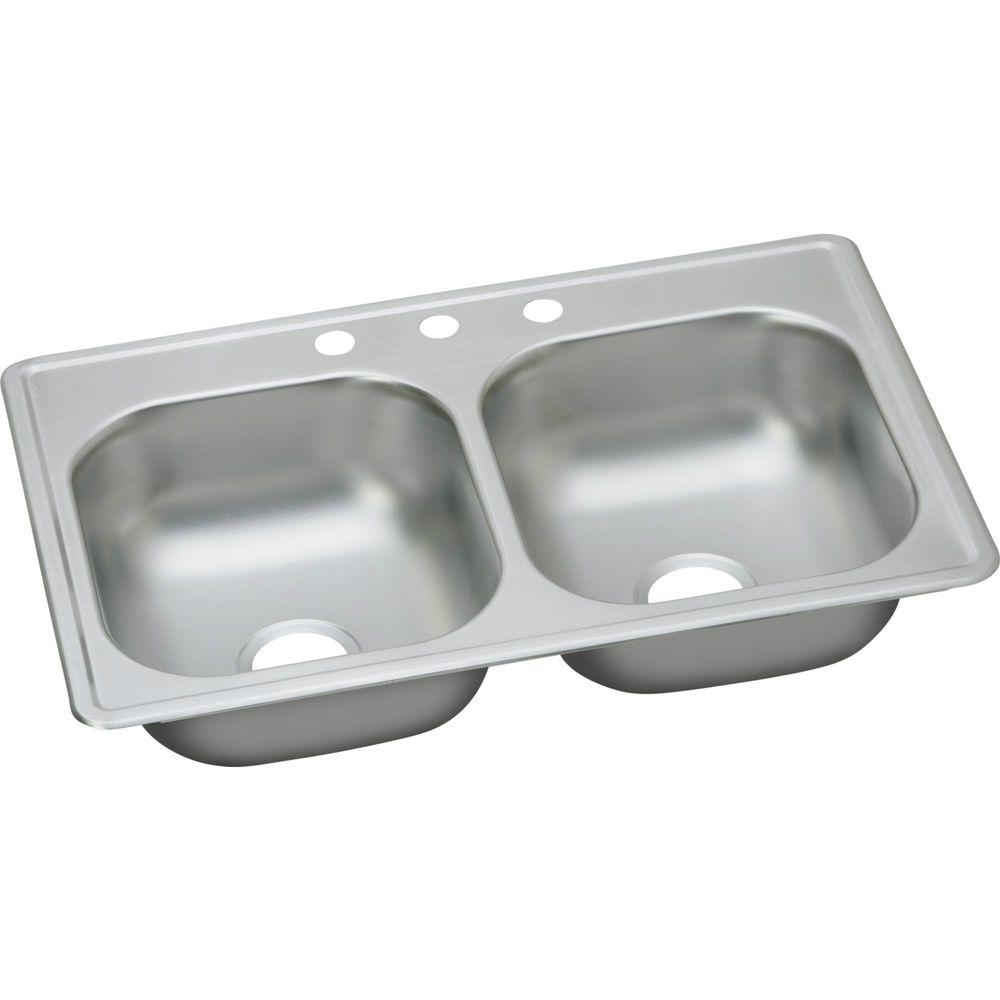Elkay Dayton Drop In Stainless Steel 33 3 Hole Double Bowl Kitchen