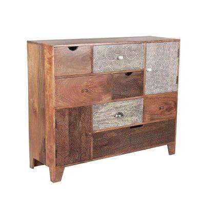 Gloria Multi Drawer Sideboard Mango Wood with Screen Print Drawers