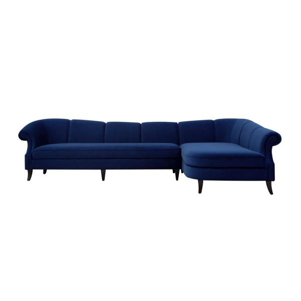 Victoria Navy Blue Channel Tufted Right Sectional Sofa