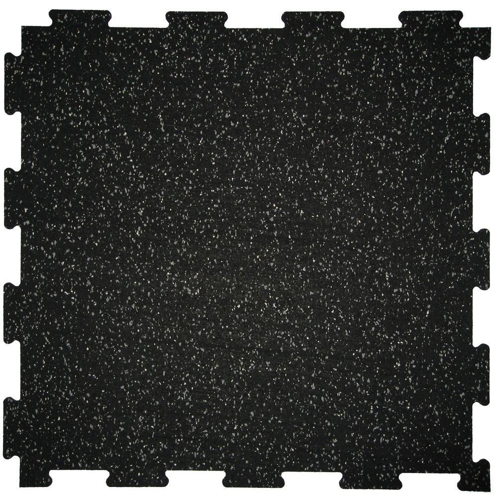 NRT Pro-Fit Dual Layer Interlock Black 0.275 in. x 23.75 in. x 23.75 in. Fleck Rubber Tile