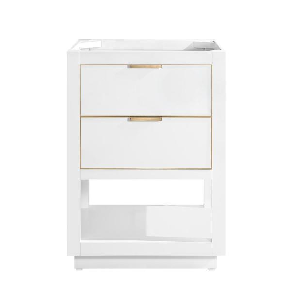 Allie 24 in. Bath Vanity Cabinet Only in White with Gold Trim