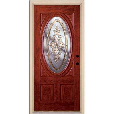 37.5 in. x 81.625 in. Silverdale Zinc 3/4 Oval Lite Stained Cherry Mahogany Left-Hand Fiberglass Prehung Front Door