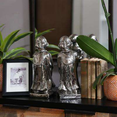 12 in. H Monk Decorative Figurine in Gray Polished Chrome Finish (Set of 2)
