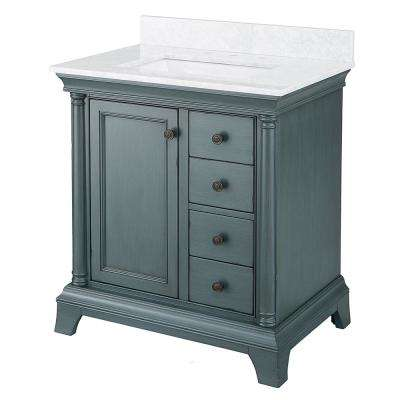 Strousse 31 in. W x 22 in. D Vanity Cabinet in Distressed Blue Fog with Marble Top in Carrara White with White Basin