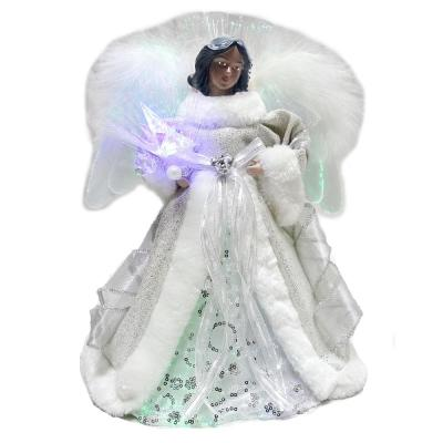 12 in. Ethnic Fiber Optic Angel Treetop