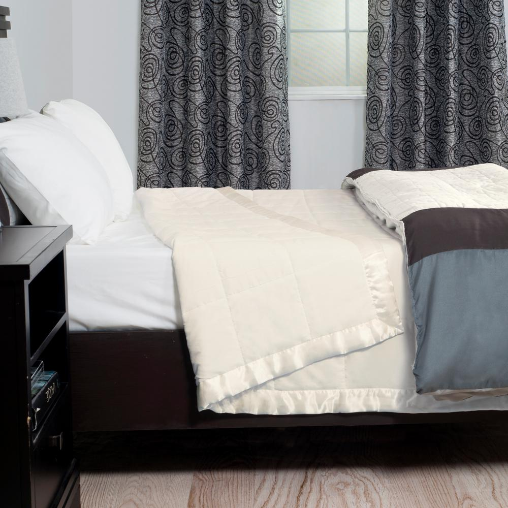 Beige Polyester Down Alternative Twin Blanket