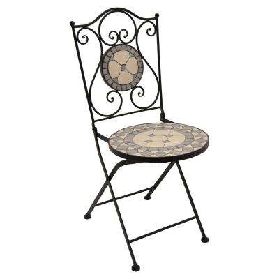 28 in. Metal Bistro Chair in Black and Multicolor