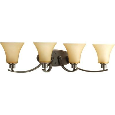 Joy Collection 4-Light Antique Bronze Bathroom Vanity Light with Glass Shades