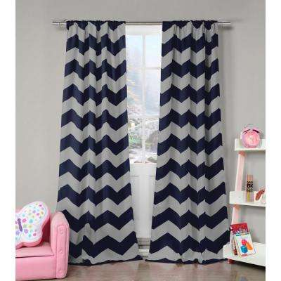 Stripe Navy-White Polyester Blackout Pole Top Window Curtain - 39 in. W x 84 in. L (2-Pack)
