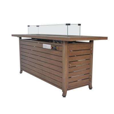 59 in. x 21 in. Rectangle Extruded Aluminum Propane Fire Table with Wind Glass, Cover and Lid-Natural Wood Look