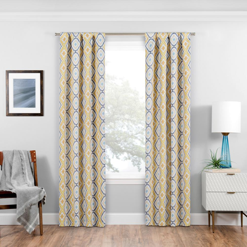 Eclipse Morrow Blackout Window Curtain Panel in Gold - 37 in. W x 95 in. L